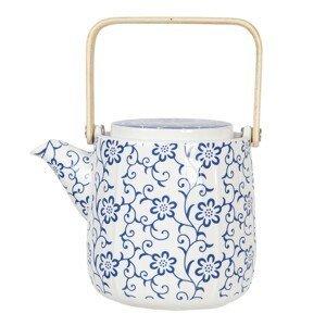 Porcelánová konvička na čaj s modrými květy - 0,8L
