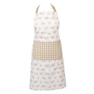 Bavlněná kuchyňská zástěra Country Life Animals béžovo-bílá - 70*85 cm