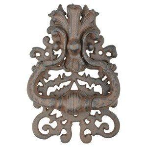 Hnědé litinové klepadlo na dveře s ornamenty - 13*3*19 cm