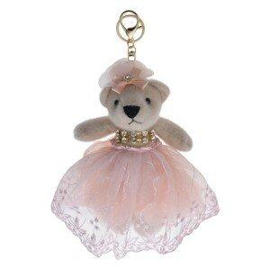 Plyšový medvídek v růžové tylové sukni na zavěšení - 20 cm