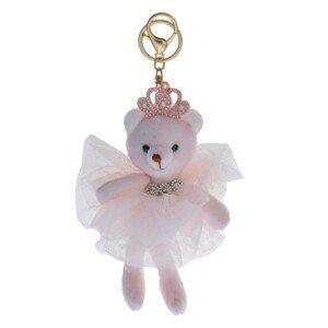 Plyšová růžová medvědice s korunkou na klíče - 15 cm