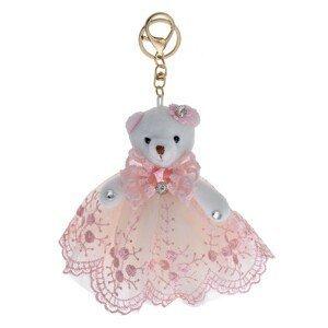 Bílý plyšový medvídek v růžové sukni na zavěšení - 15 cm