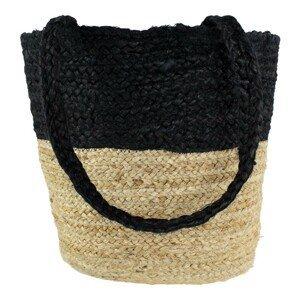 Jutový shopper černá / přírodní - 30*45*15cm