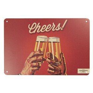 Středně velká kovová cedule Cheers! - 30*20 cm