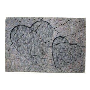 Šedá rohožka srdce v kmenu stromu Hearts grey - 75*50*1cm