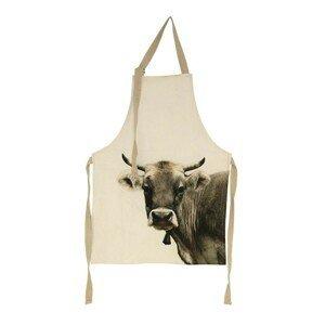 Béžová zástěra s motivem švýcarské krávy - 83*61*0,3cm