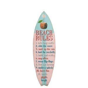 Modro -růžová dřevěná nástěnná cedule plážová pravidla - 24*1,5*77cm