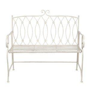 Krémová zahradní kovová lavice Lucille - 104*55*96 cm