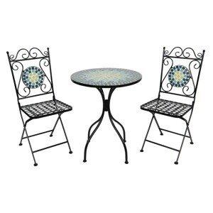 Kovový set zahradního nábytku s mozaikou Turquoise – Ø 60*72 cm / 36*35*91 cm