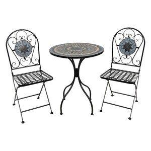 Set kovového zahradního nábytku s mozaikou Vitrail – Ø 60*72 cm / 36*35*91 cm