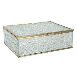 Skleněná šperkovnice z vroubkovaného skla a zlatým lemováním  - 20*16*6 cm