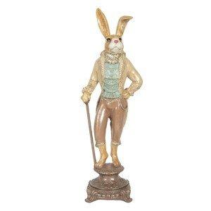 Dekorační soška králíka ve fraku na podstavci - 14*11*44 cm