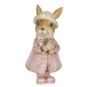 Dekorace králičí slečny v kabátku s kachničkou - 8*6*13 cm