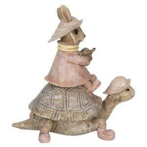 Dekorace králičí slečny na želvě - 14*8*14 cm