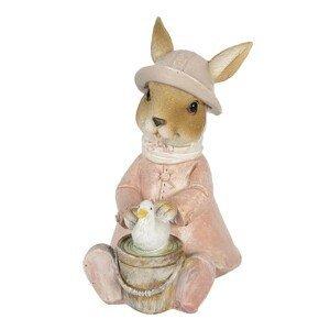 Dekorace králičí slečny v kabátku s kachničkou - 9*6*12 cm