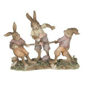 Dekorace králíků přetahujících se o provaz - 20*7*15 cm