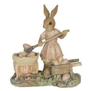 Velikonoční dekorace králičí slečny nabírající vajíčka - 12*6*12 cm
