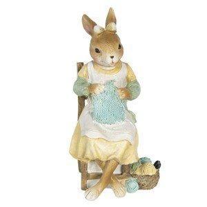 Velikonoční dekorace králičí slečny s pletením - 9*8*18 cm