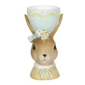 Dekorace králičí dámy s držákem na vajíčko v klobouku - 7*7*12 cm