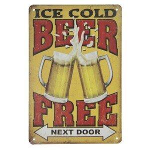 Nástěnná kovová cedule Beer next door - 20*30 cm