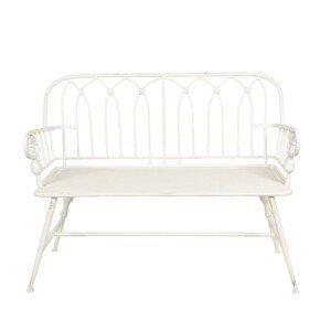 Zahradní bílá zdobená lavice - 120*53*90 cm