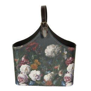 Tmavě tyrkysová květovaná vintage taška Colette - 29*14*26 cm