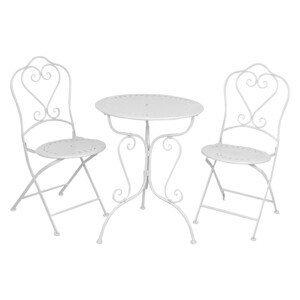 Vintage krémový set stůl + 2 židle - 62*73 / 48*40*93 cm