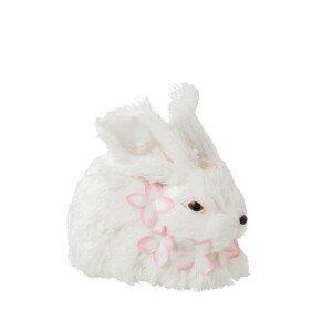 Dekorace králíček s květy kolem krku - 14*18*15 cm