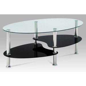 Konferenční stolek GCT-302 GBK1, čiré sklo/černé sklo/leštěný nerez