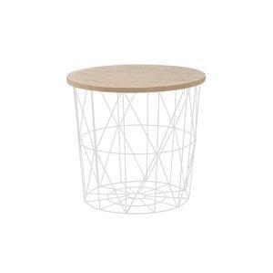 Odkládací stolek MARIFFA, přírodní/bílá
