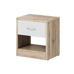 Noční stolek NEA 1S, dub sanremo/bílý mat