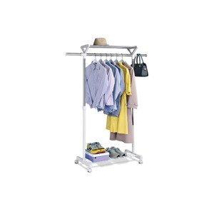 Stojan na šaty s regálem na boty, barva  bílá / chrom ABD-1218 WT