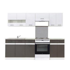 Kuchyně JUNONA 180/240 cm, korpus bílý/dvířka bílý lesk, šedý wolfram PD beton