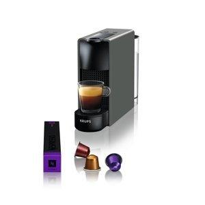 Kávovar na kapsle KRUPS Essenza Mini šedý  + 14 nespresso kapslí ZDARMA