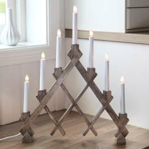 STAR TRADING Svíčkový lustr Rut hnědý se sedmi žárovkami