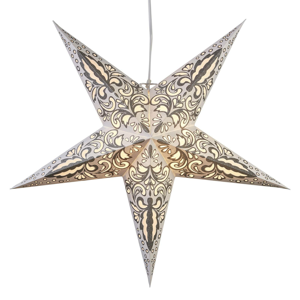 Best Season Papírová hvězda Blaze 5cípá, vzorovaná, bílá
