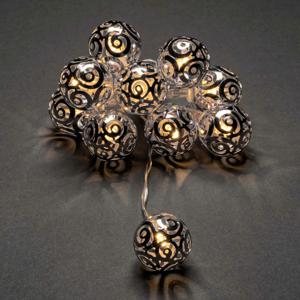 Konstmide CHRISTMAS LED světelný řetěz kovové míčky, stříbrná
