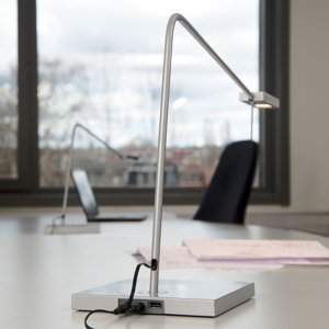 GLamOX LED stolní lampa Ninety s nohou, stříbrně šedá