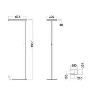 GLamOX LED stojací lampa Free-F 4000K stmívač senzor šedá