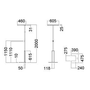 GLamOX LED stojací lampa LINEA-F, stmívač, CCT, bílá
