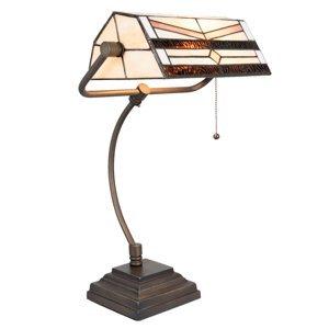 Clayre & Eef Stolní lampa 5193 v designu Tiffany, krémová