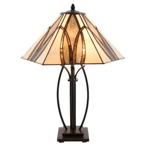 Clayre & Eef Stolní lampa 5913 s hnědým skleněným stínidlem