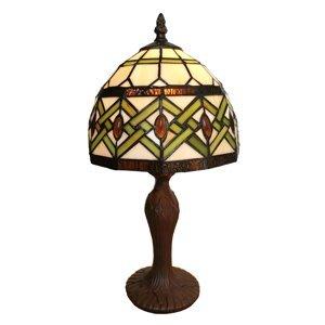 Clayre & Eef Stolní lampa 6027 skleněné stínidlo styl Tiffany