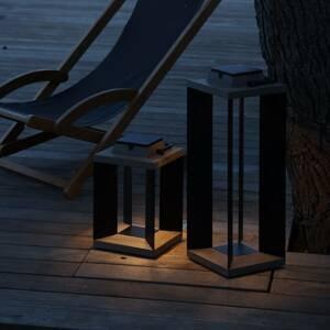 LES JARDINS Solární lucerna Teckalu, duratek/Al černá, 36,5cm