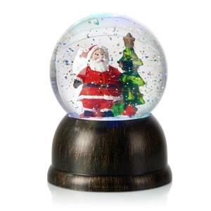 Markslöjd LED sněhová koule Max se Santa Clausem, bronz