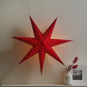 Markslöjd Hvězda Clara k zavěšení, samet Ø 75 cm, červená