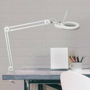 MAUL LED stolní lupa MAULviso se svorkou, bílá