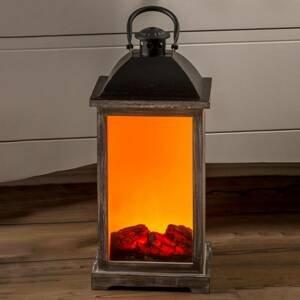 Saico Dřevěná lucerna s efektem krbu LED s trafem