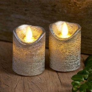 Sirius LED svíčka Sara Mini 2, stříbrná, Ø 5cm, 7 cm