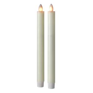 Sompex Svíčka Shine LED, pravý vosk, sada 2ks, slonovina